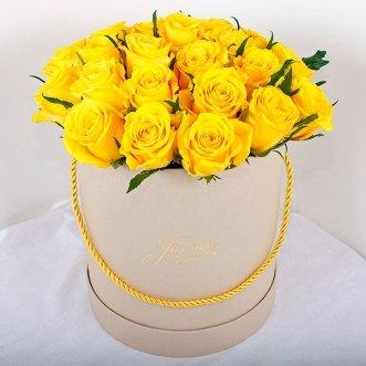 25 желтых роз в коробке